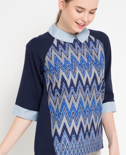 Dress Batik Kombinasi Polos Wanita