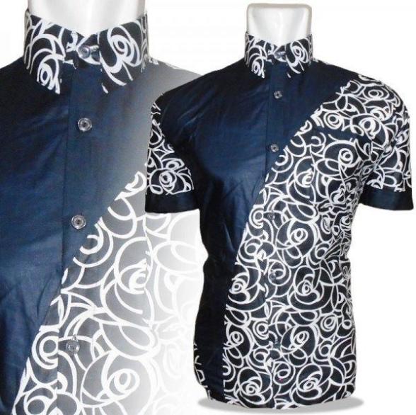 Baju Kemeja Pria Kombinasi Batik - Model Baju Trending