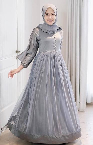 Model Baju Gamis Pesta Pernikahan Jilbab Unyu